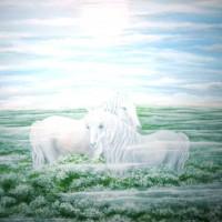 Arkliai rytą, akrilas, 50x70