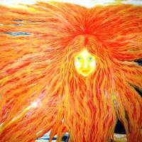 Saulė, akrilas 50x60 cm